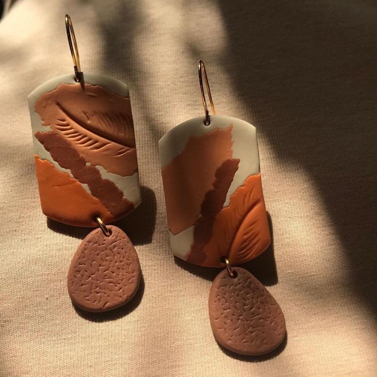 шоколадные серьги из полимерной глины