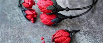 стильный браслет с цветами из полимерной глины