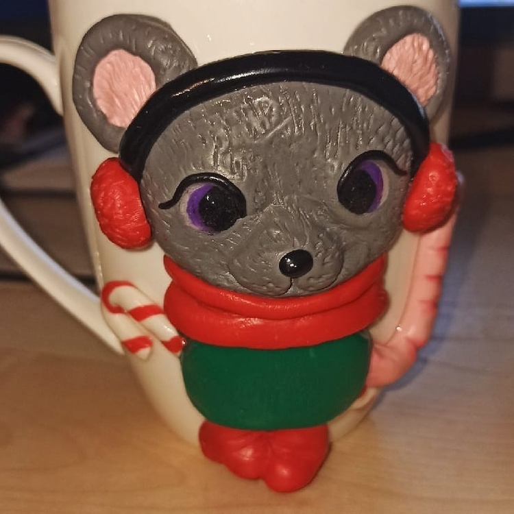 polymer clay mug . кружка из полимерной глины (2)