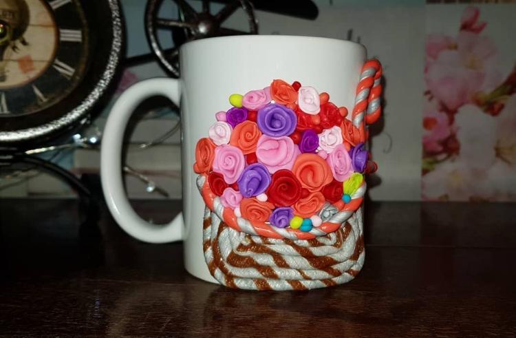 кружки с декором из полимерной глины (38)