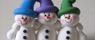 снеговик из полимерной глины